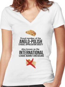The Anglo-Polish Strudel Appreciation Society Women's Fitted V-Neck T-Shirt