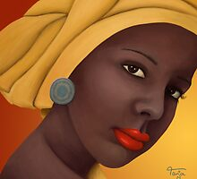 Woman with round earring by Tanja Udelhofen