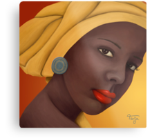 Woman with round earring Metal Print