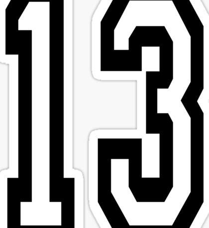 13, TEAM SPORTS, NUMBER 13, THIRTEEN, THIRTEENTH, ONE, THREE, Competition, Unlucky, Luck Sticker