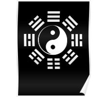 Yin Yang, I Ching, Martial Arts, Chinese, WHITE on BLACK Poster