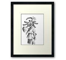 Pen and Ink Skull Kid Framed Print
