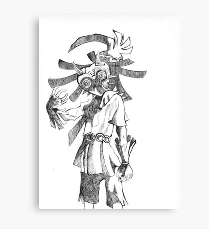 Pen and Ink Skull Kid Canvas Print