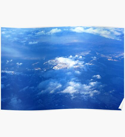 Sunlit Mountain from Plane Poster