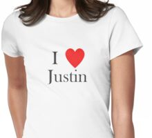 i love justin heart Womens Fitted T-Shirt