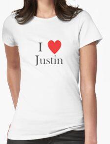 i love justin heart T-Shirt