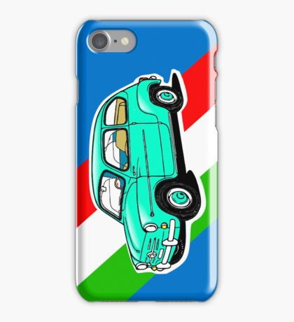 FIAT 600 BLUE WITH FLAG  iPhone Case/Skin