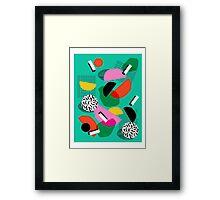 Flange - memphis inspired pop art retro throwback 1980s neon style art print decor hipster socal Framed Print