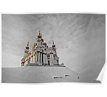 winter in St. Andrew's Church, Kiev, Ukraine Poster