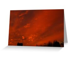 December sunset in a London suburb Greeting Card