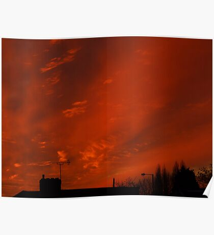 December sunset in a London suburb Poster