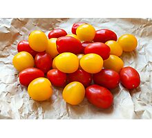 Red and Yellow Cherry Tomatoes Photographic Print