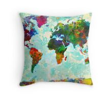 Splatter World Map - 1 Throw Pillow
