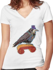 Well Dressed Raven Women's Fitted V-Neck T-Shirt