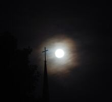 Moon and Steeple with Cross by Mark McReynolds