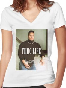 Throwback - Dwayne Johnson Women's Fitted V-Neck T-Shirt