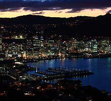 Wellington city at dusk 2 by Duncan Cunningham