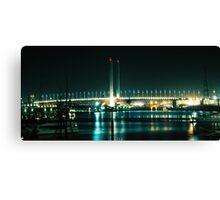Lit Bridge & Water Canvas Print