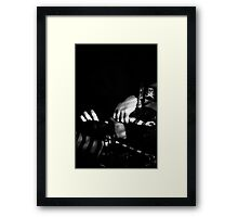 Hands on toy pirate ship black and white digital image Framed Print
