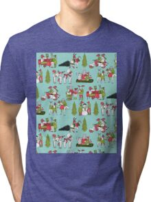 Woodland Christmas - Turquoise by Andrea Lauren  Tri-blend T-Shirt