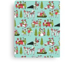 Woodland Christmas - Turquoise by Andrea Lauren  Canvas Print