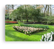 Beds of Red Tulips and Pink Hyacinths - Keukenhof Gardens Canvas Print