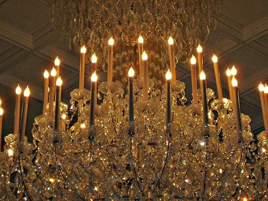 Macro Zoom on Huge Crystal Chandelier, The Venetian, Garfield NJ by Jane Neill-Hancock