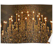Macro Zoom on Huge Crystal Chandelier, The Venetian, Garfield NJ Poster
