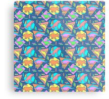 Nineties Dinosaurs Pattern Metal Print