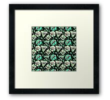 Neon Skeleton Dinosaur Pattern Framed Print