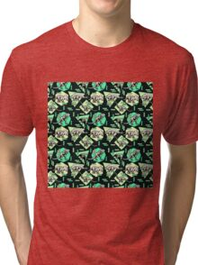 Neon Skeleton Dinosaur Pattern Tri-blend T-Shirt