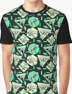 Neon Skeleton Dinosaur Pattern Graphic T-Shirt