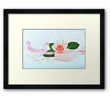 Pretty pink roses, pearls, ribbon and lace. Framed Print