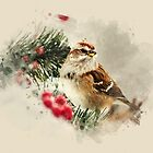 American Tree Sparrow Watercolor by Christina Rollo