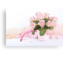 Pretty pink roses, pearls, ribbon and lace. Metal Print