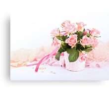 Pretty pink roses, pearls, ribbon and lace. Canvas Print