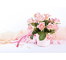 Pretty pink roses, pearls, ribbon and lace. Photographic Print