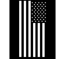 American Flag, BLACK, In Mourning, America, Americana, Stars & Stripes, White on Black, PORTRAIT, USA Photographic Print