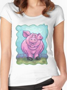 Animal Parade Pig Women's Fitted Scoop T-Shirt