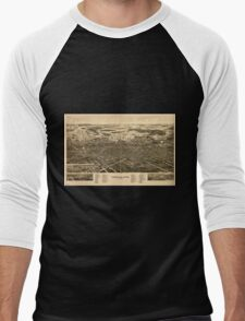 Panoramic Maps Findlay Ohio the Gas City Men's Baseball ¾ T-Shirt