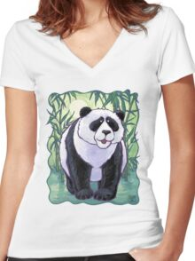 Animal Parade Panda Bear Women's Fitted V-Neck T-Shirt