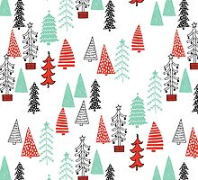 Christmas Forest - Red and Green by Andrea Lauren  by Andrea Lauren