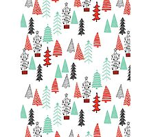 Christmas Forest - Red and Green by Andrea Lauren  Photographic Print