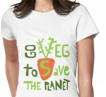 Go veg to save the planet Womens Fitted T-Shirt