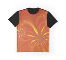 Gold Orange and Pink Abstract Flowers Graphic T-Shirt