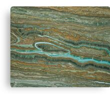 Brown & Green Marble Stone Pattern Canvas Print