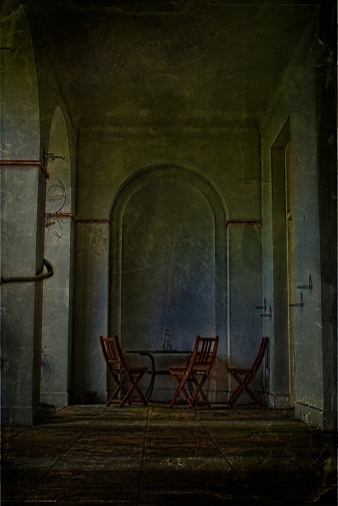 Table And Chairs In The Colonade by Dave Godden