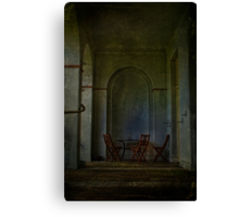 Table And Chairs In The Colonade Canvas Print
