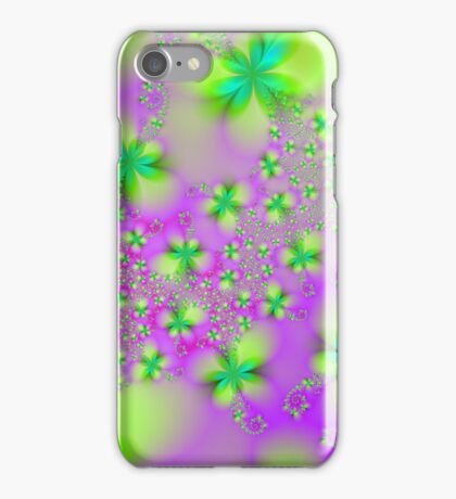 Green Yellow and Pink Abstract Flowers iPhone Case/Skin