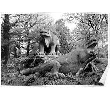 London - Crystal Palace - Dinosaurs Peering  Poster